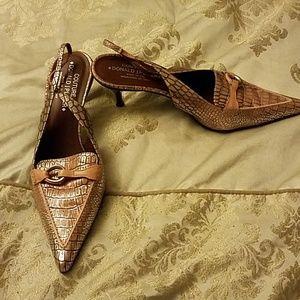donald j pliner croc print slingback heels